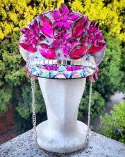 Festival Hat Burning Man Hat Pink Military Captain Rave Sequin Cap Headpiece