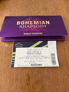 BOHEMIAN RHAPSODY Movie WORLD PREMIERE At Wembley Arena TICKET - collectable