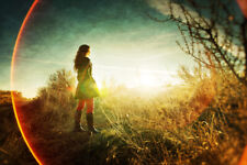 Girl in Field Looking at Sunset Photo Art Print Poster 18x12 inch