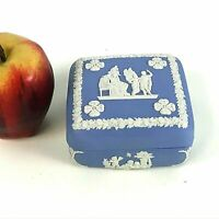 Vintage Wedgwood Blue Jasperware Square Shape Trinket Dresser Box