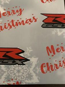 GSXR MOTOR BIKE MERRY  CHRISTMAS XMAS  GIFT WRAPPING PAPER SUPERBIKE MOTORBIKE