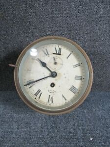 ANTIQUE ENGLISH BRITISH BRASS SHIPS CLOCK by SMITH-EMPIRE, NON-WORKING