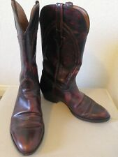 Lucchese Mens Cowboy Western Boots Burgundy Almond Toe Mid Calf Pull Ons 11 D