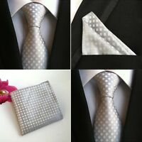 Men Gray White Checks Plaids Silk Tie Pocket Square Handkerchief Set Lot HZ097