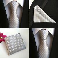 Men Gray White Checks Plaids Silk Tie Pocket Square Handkerchief Set Lot HZ097