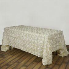 Wedding Table Cloth - Ivory Rosette - 156 Inch Rectangular