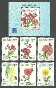 LAOS 1988 FINLANDIA FLOWERS BUTTERFLIES SET & M/SHEET MNH