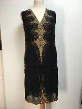 NWT Antik Batik Nitsa black golden sequined flapper sleeveless mini dress S