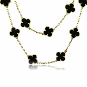 "Estate 18K Yellow Gold 23"" Long Flower Clover Motif Black Onyx Necklace 45 Grams"