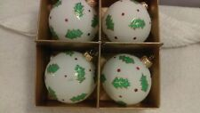 Christmas ornaments set of 4 glass holly & berry design Ch1576