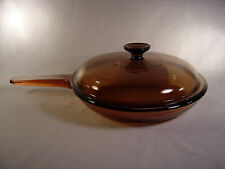 """Pyrex Vision Ware Amber 7"""" Waffle Bottom Fry Pan / Skillet with Lid - USA"""