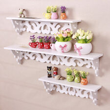 3pcs White Wooden Floating Wall Mounted Shelf Display Rack Hanging Storage Unit