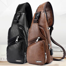 Mens Black Leather Crossbody Bag Single Shoulder Bag USB Sports Casual Chest Bag
