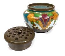 Antique Gouda Pottery Flower Holder Vase / Pot / Bowl / Art Deco / Dutch