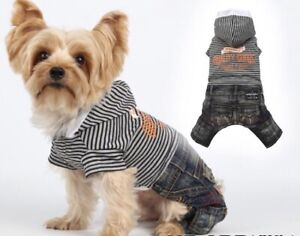 Genuine Doggy Dolly Denim Jeans & T Shirt All In One Outfit Hoodie