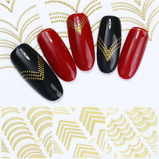 Gold Metal 3D Nail Art Adhesive Transfer Stickers Stripes Wave Line Manicure DIY