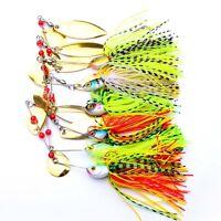 6stk Gemischt Wunderbare Farbe Spinner Angeln Köder Bass Tackle Haken groß NEU