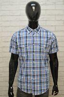 Camicia Uomo TOMMY HILFIGER Taglia M Maglia Polo Quadri Cotone Shirt Blu Hemd