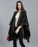 WARM THICK SOFT CAPE PONCHO SHAWL WRAP Ladies Wool Blend Knitted PONCHOS UK