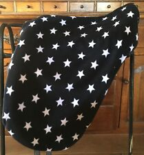 "Black & White Star Saddle Cover Fits Up To 18"" Luxury Soft  Fleece"