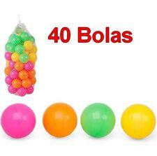 Set 40 Bolas de Colores para Parque infantil,bebés,niños,de plástico,bolsa red