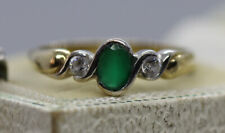 EMERALD AND DIAMOND 3 STONE RING 9CT GOLD