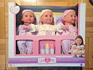 Play and Giggle Triplets Motion Talking Baby Dolls You and Me Interactive NEW