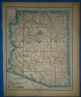 Vintage Circa 1893 ARIZONA TERRITORY MAP Old Early Antique Original Atlas Map