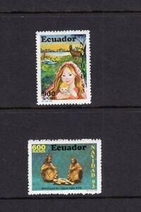 Ecuador 1993 Christmas Art Mary and Jesus Painting, Sculpture  MNH  Sc 1326-7