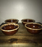 4 Vintage Hull Oven Proof Drip Bean / Soup Bowls Made In USA