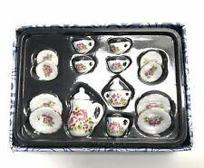 15pcs Dollhouse Miniature Dining Ware Porcelain Tea Set Dish Cup Flowers