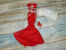 Barbie Doll RED GLITTER MERMAID GOWN Dress w/ Stole and Shoes Lot Clothing