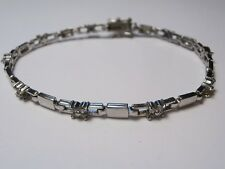 Tennis bracelet sterling silver cubic zirconia 925 rhinestone estate jewelry