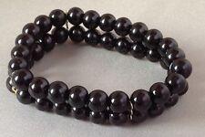 bracelet  sur 2 rangées de perles porcelaine noir  3936