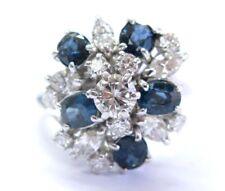 Fein Multi Form Diamant & Saphir Weiss Gold Haufen Ring 3.95Ct
