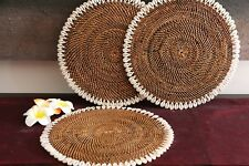 NEW Bali Woven Rattan Placemats w/Shell Trim - Balinese Woven Table Mat w/Shells