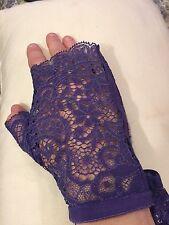La Perla Purple Lace Stretch Fingerless Gloves $378