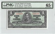 New listing Canada 1937 P-21d Pmg Gem Unc 65 Epq 1 Dollar (Coyne-Towers)