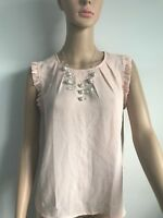 Forever 21 Woman's Peach  Sheer Top Sleeveless Blouse Size Small 100%polyester