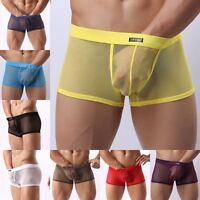 NEW Mens Underwear Sexy Breathable Nylon mesh Pants transparent Boxer trunks