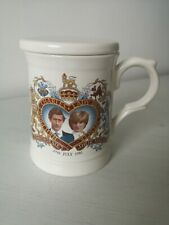 Prince Charles & Lady Diana Spencer commerative wedding mug with lid