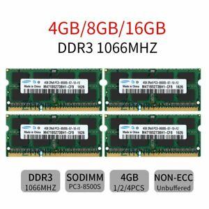 16GB 8GB 4GB 2GB PC3-8500S DDR3 1066 1.5V SO-DIMM Laptop RAM For Samsung Lot UL