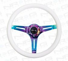 NRG Steering Wheel 350mm Luminor WHITE & GLOW In The Dark Wood NeoChrome Spokes