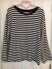 Womens Black & White Striped Long Sleeve T-Shirt Size Medium