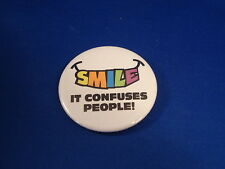 """""""Smile It Confuses People"""" Lot of 12 Buttons pins pinbacks 2 1/4"""" badge Resale!"""