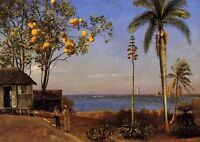 """Oil Albert Bierstadt - A View in the Bahamas with summer landscape by river 36"""""""
