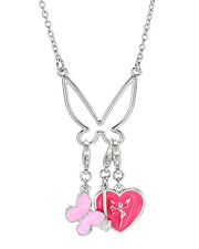 DISNEY Tinkerbell Heart  Charms  Necklace in Two Tone Enamel &  Base Metal