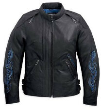 HARLEY DAVIDSON DONNA MISTY ACQUE NERO BLU Giacca di pelle 97112-12vw XS