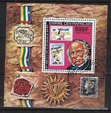 BL10 CENTRE AFRIQUE Sir Rowland Hill inventeur de la poste .Bloc oblitéré