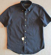 Ralph Lauren Seersucker Shirt Navy Button-Front with Chest Pocket M NWT